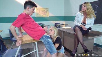 Большие сиськи в школе - Шикарная учительница соблазнила девственника с большим членом и развратную лесбиянку Джорди Эль-Ниньо Полла