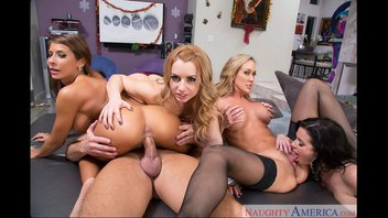 Четыре зрелые бабёнки пользуют парня (Brandi Love, Lexi Belle, Madison Ivy, Veronica Avluv)