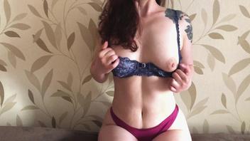 Стриптиз и секс с русской женой в сексуальном белье