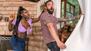Две  грудастые негритянки шпилятся с белым  самцом